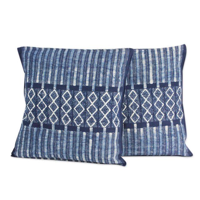 INDIGO WATERFALL BATIK COTTON PILLOW (THAILAND) | PILLOWS