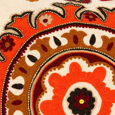 ORANGE MANDALA THROW PILLOW (FROM INDIA)
