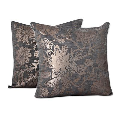 SILVER SEA BLOSSOMS THROW PILLOW (FROM INDIA)