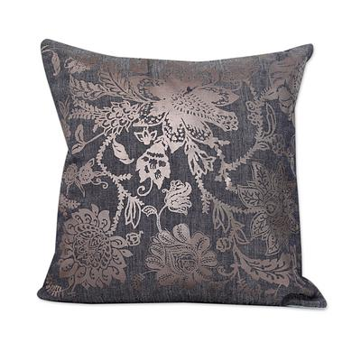 SILVER SEA BLOSSOMS THROW PILLOW (INDIA)
