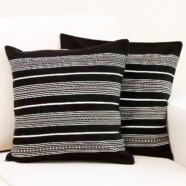 Black Striped Alpaca Pillow (Peru)