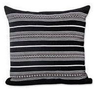 Black Striped Alpaca Pillow (from Peru)