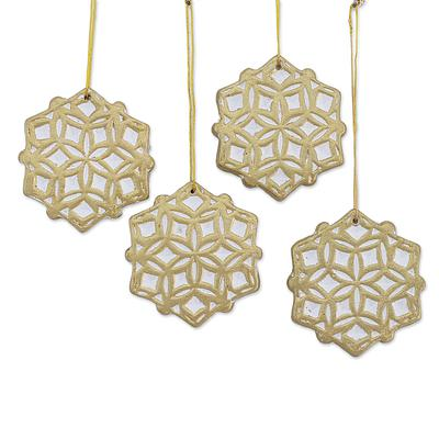 GOLDEN SNOWFLAKE CERAMIC ORNAMENT (FROM INDIA)