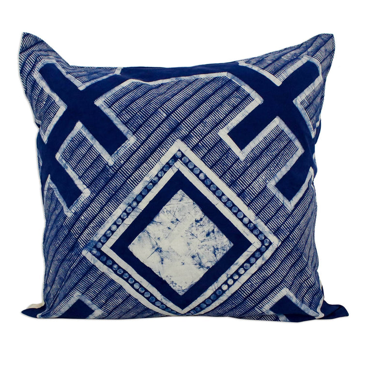 INDIGO HMONG BATIK COTTON PILLOW (THAILAND)