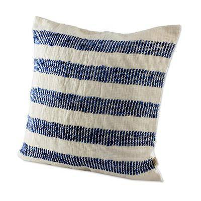 BLUE STRIPED HEAVEN THROW PILLOW (FROM GUATEMALA)