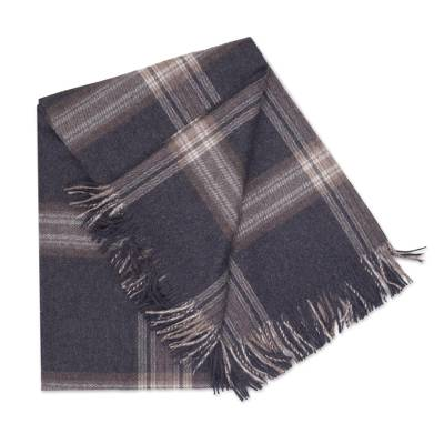 GREY PLAID ALPACA THROW (PERU)