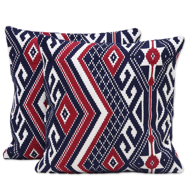 CRIMSON GEOMETRIC THROW PILLOW (INDIA)