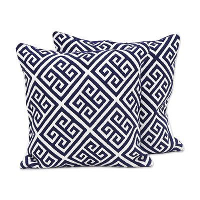 GREEK KEY THROW PILLOW (INDIA)