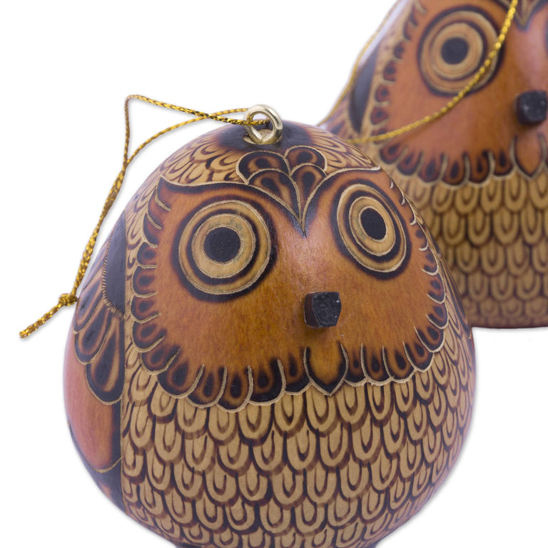 OWL GOURD ORNAMENT (FROM PERU)