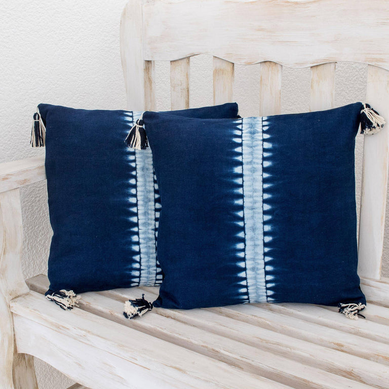 INDIGO DYED COTTON ABOVE THE WAVES PILLOW