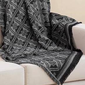 BLACK ANDEAN SQUARES IN SMOKE ALPACA THROW (PERU)