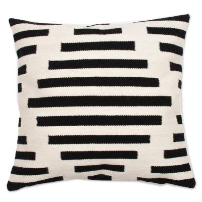 BLACK & WHITE INCAN DIAMOND PILLOW (PERU)