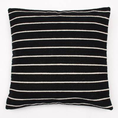 Black Lines Wool Pillow (from Peru)