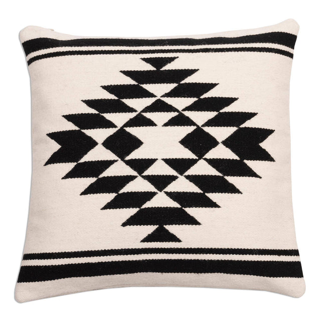BLACK & WHITE ANDIAN DIAMOND PILLOW (PERU)