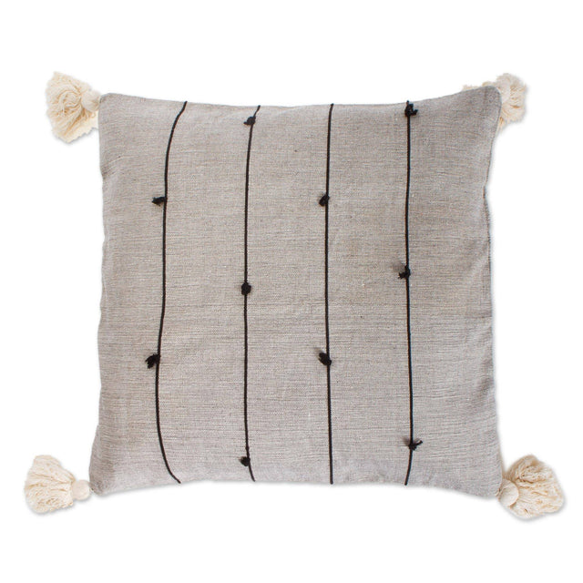 GREY ON POINT STITCHED LINE PILLOW