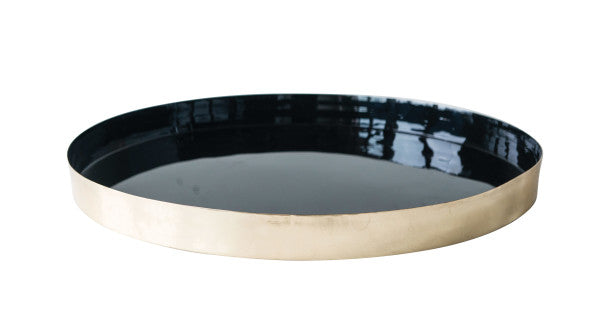 BLACK & BRASS ROUND TRAY