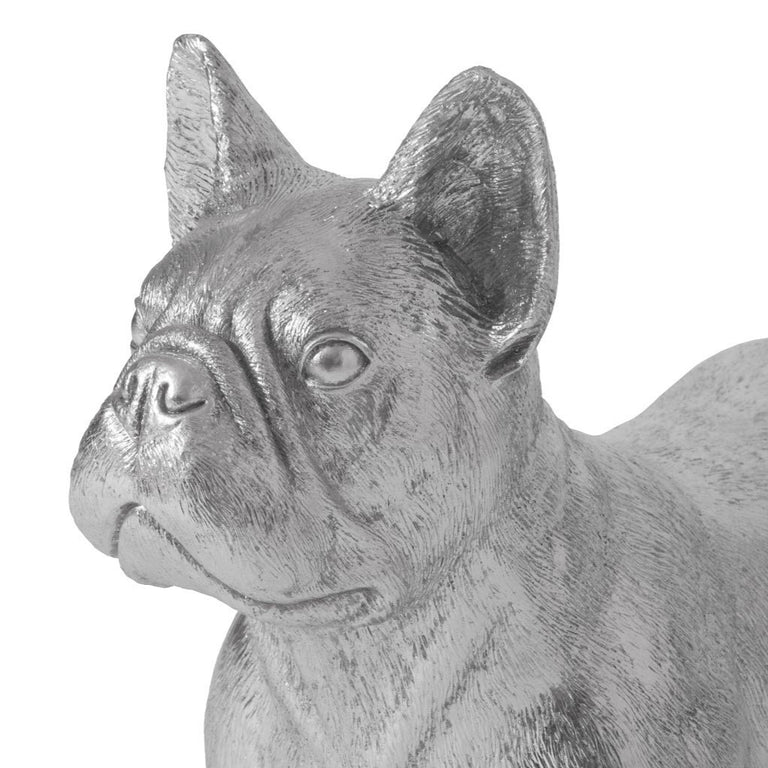 "FRENCH BULLDOG, SILVER 21"" FIGURINE"