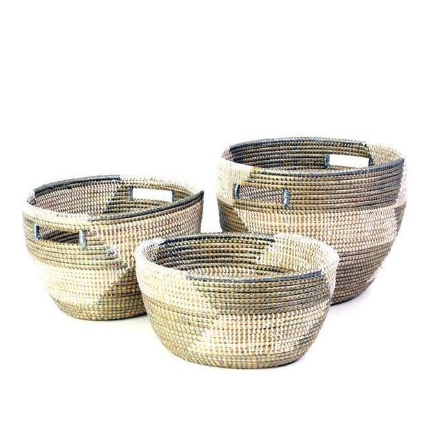 SILVER & WHITE HERRINGBONE NESTING BASKETS <br>(FROM SENEGAL)