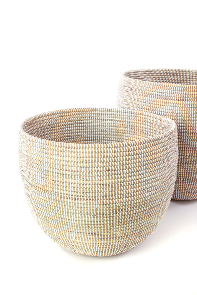 WHITE DEEP NESTING BASKET SET (SENEGAL)