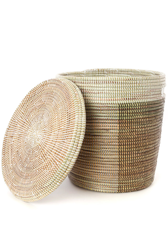 TRI-TONED FLAT-LIDDED BASKET (SENEGAL)