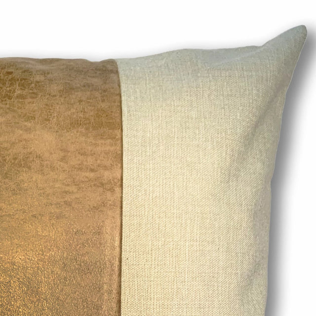 SADDLE TAN & LINEN PILLOW