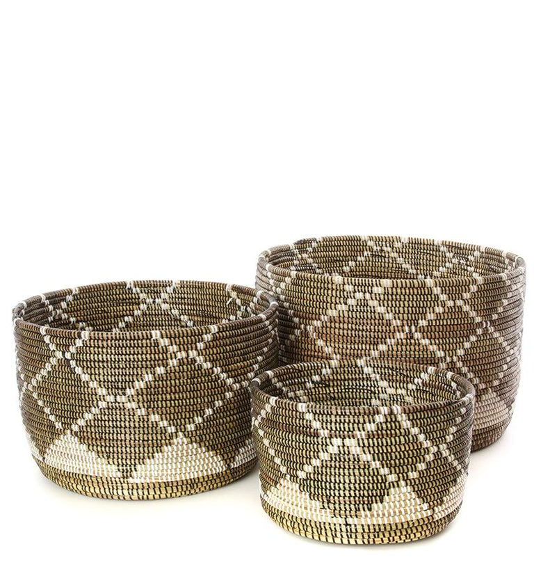 DARK DIAMOND NESTING BASKETS SET (SENEGAL)