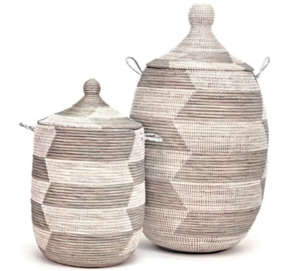 SILVER & WHITE HERRINGBONE BASKETS (SENEGAL)