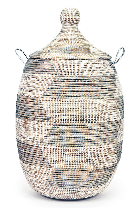 SILVER & WHITE HERRINGBONE BASKETS (FROM SENEGAL)