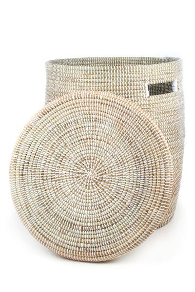 WHITE FLAT-LIDDED BASKET (SENEGAL)