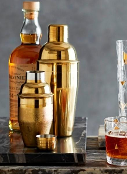 POLISHED BRASS COCKTAIL SHAKERS