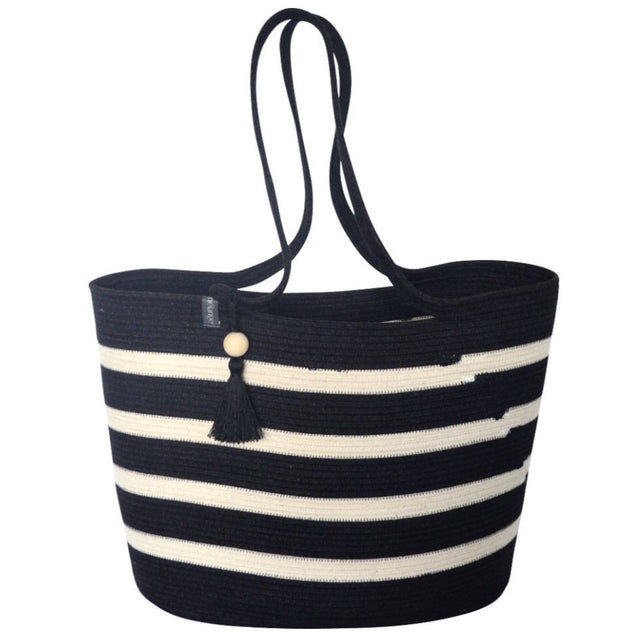 IVORY & BLACK COTTON SHOPPER BAG <br>(FROM SOUTH AFRICA)