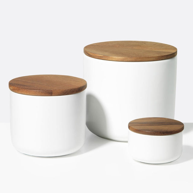 ACACIA LID WHITE STONEWARE | CONTAINER