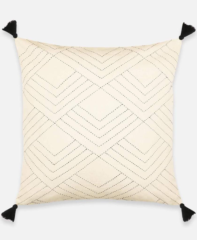 WHITE CHEVRON STITCH THROW PILLOW