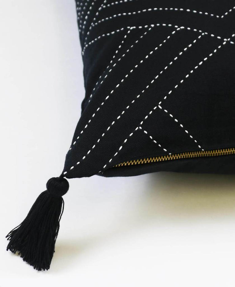 BLACK CHEVRON STITCH THROW PILLOW