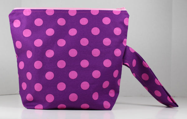 Purple and Pink Polka Dot Project Bag