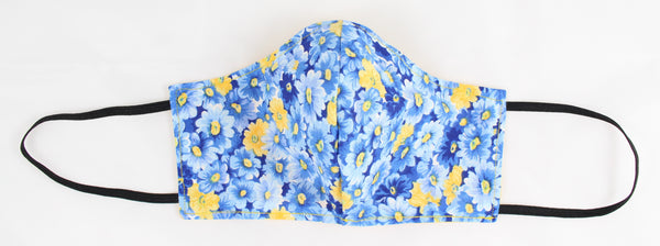 Blue & Yellow Flowers Reversible Face Mask w/Earloops