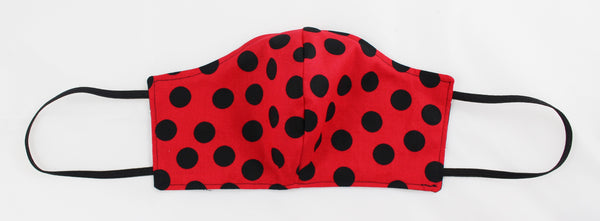 Red Polka Dot/B&W Reversible Face Mask w/Earloops