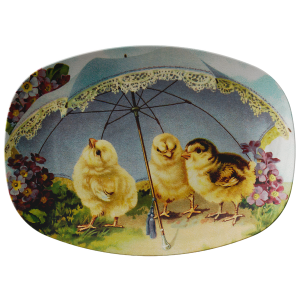 Easter Chicks Under a Parasol Serving Platter