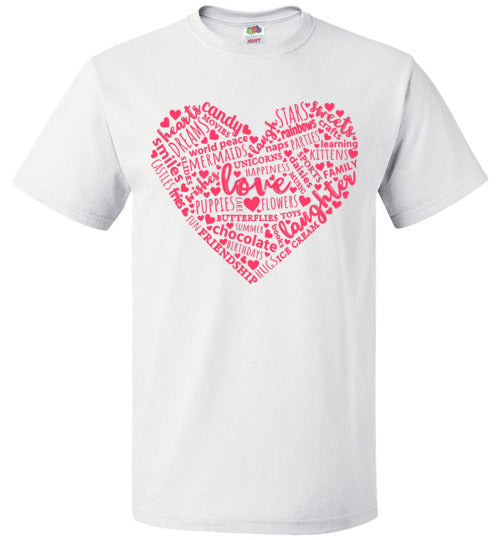 Heart Word Art Valentine's Day Shirt for Girls