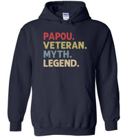 Papou Veteran Myth Legend Hoodie for Men Greek Grandpa Gift