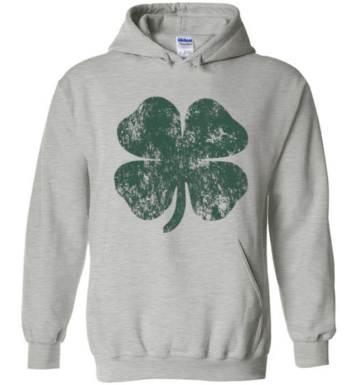 Distressed Shamrock St Patricks Day Hoodie for Men, Women and Teens