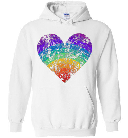 Rainbow Heart Gay Pride LGBTQ Distressed Vintage Style Hoodie for Women and Men