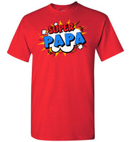 Super Papa Cartoon Bubble Retro Comic Style Funny Shirt for Men