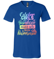 October Girls are Sunshine Mixed with a Little Hurricane V-Neck Shirt