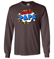 Super Papa Cartoon Bubble Retro Comic Style Funny Long Sleeve Shirt for Men