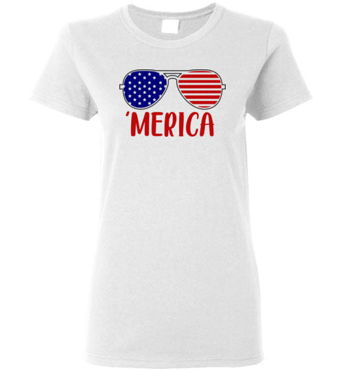 Merica Fourth of July Shirt for Women