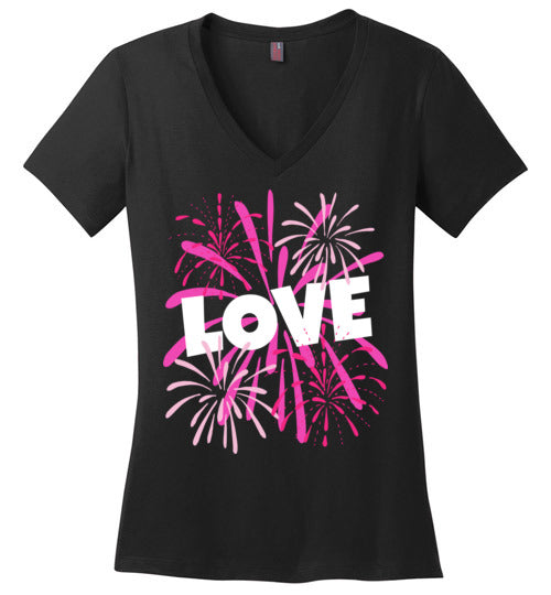 Valentines Day Love T Shirt for Women with Pink Fireworks