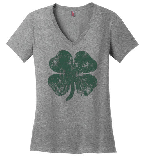 Distressed Shamrock St Patricks Day V-Neck T-Shirt for Women and Teen Girls