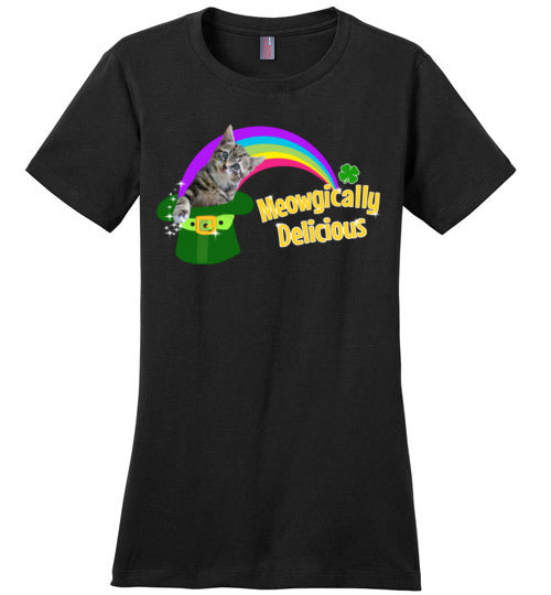 Meowgically Delicious St Patrick's Day T-Shirt for Women and Teens