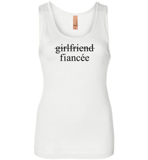 Girlfriend Fiancee Tank Top - Engagement Announcement Tee for Women